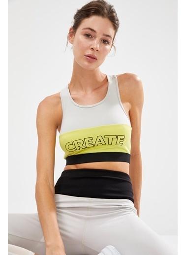 Defacto –Fit Renk Bloklu Slogan Baskılı Sporcu Sütyen Gri